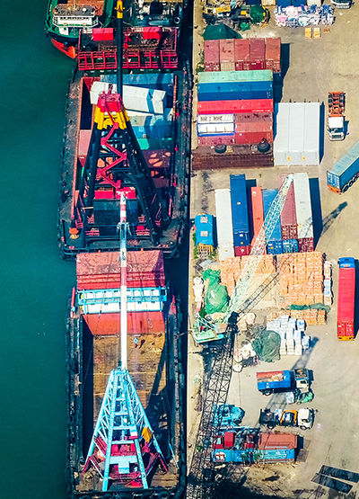 Aerial view of cargo ships at port terminal. Hong Kong