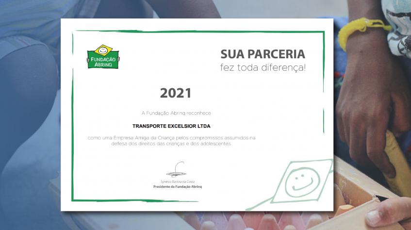 Transporte Excelsior é reconhecida novamente como Empresa Amiga da Criança