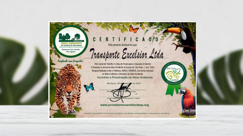 Empresa recebe certificado destaque ambiental por políticas de sustentabilidade