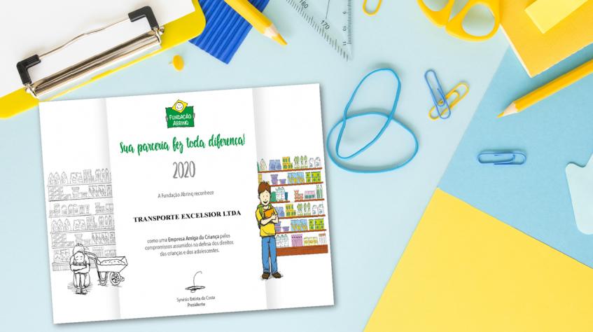 Transporte Excelsior recebe novo selo de Empresa Amiga da Criança